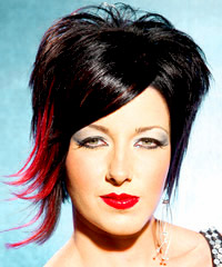Black hair color with red overtones