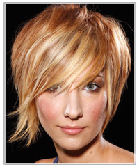 Model with caramel colored short hair
