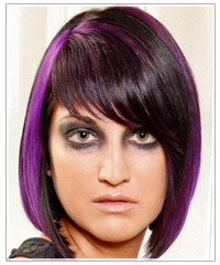 Model with black bob and purple highlights