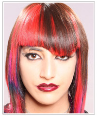 Woman with multicolored asymmetrical hair
