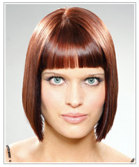 Woman with full blunt cut bangs