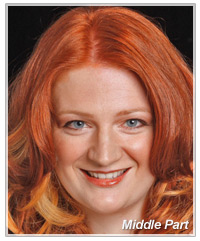 Model with red hair and middle part