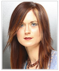 Model with darker hair with lighter highlights