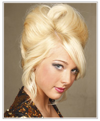 Blonde beehive upstyle