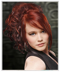 Curly red upstyle