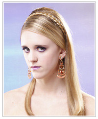 Model with plaited headband