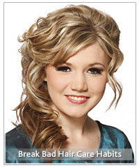 Model with blonde curly upstyle