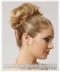 Model with blonde bun