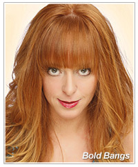 Model with bold bangs