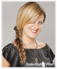 Model with long plaited side ponytail