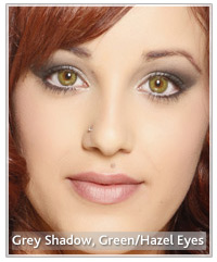 Grey eye shadow and green hazel eyes
