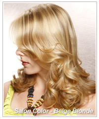 Model with a beige blonde hair color