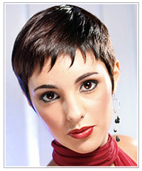 Model with short sleek dark hair