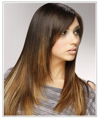 Model with long dark straight hair