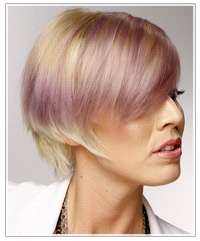 Model with short blonde and purple hair