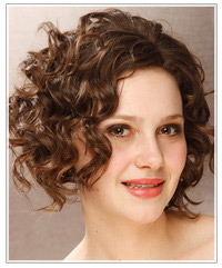 Model with short curly hair