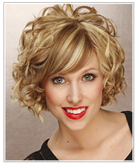 Model with short curly blonde hair