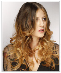 Model with long wavy two-tone hair