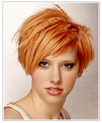 Model with short red crimped hair