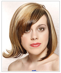 Model with straight mid-length hairstyle