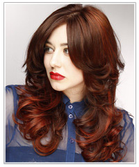 Model with dark red highlights