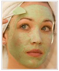 Model applying a face mask