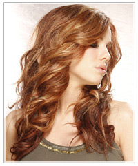 Model with long brown wavy hair