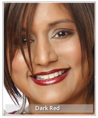Model with dark red lips
