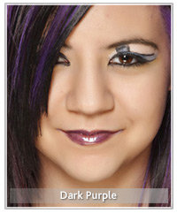 Model with dark purple lips