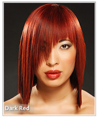 Model with a dark red hair color