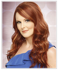 Model with long red wavy hair