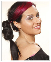Model with ponytail