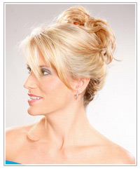 Model with topknot updo