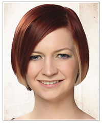 Model with dark red hair