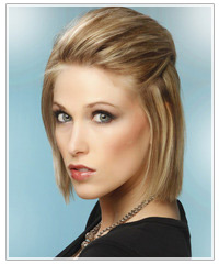 Model with mid length straight blonde hair