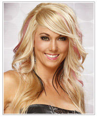 Model with pink color splashed hair