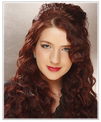 Model with red curly hair