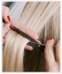 Blonde getting her hair cut