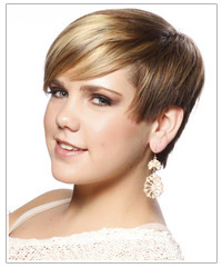 Model with short hair and bangs