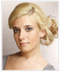 Blonde model wearing an updo