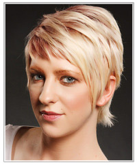 Model with short two-tone hair