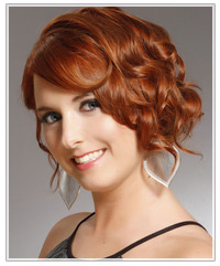 Model with red medium length hair