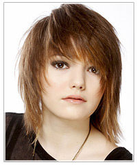 Model with razor cut hair