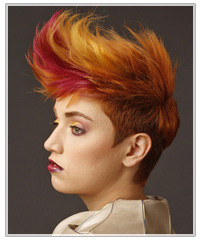 Model with multi-colored hair