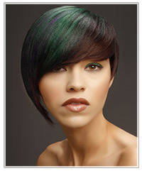Model with green fringe