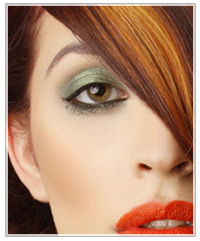 Model with green eye shadow