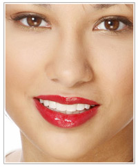 Model with shiny red lipstick