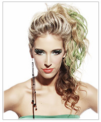Blonde model with green eye shadow