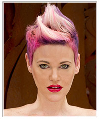Model with pink and purple hair
