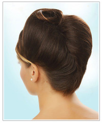 Brunette model with an updo
